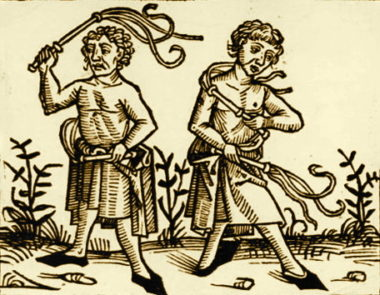 John Paul II and self-mortification; Sepia of Flagellants, artist unknown, 15th century woodcut, Wikimedia Commons.